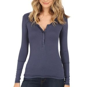 Free People Navy Megs Ribbed Henley Long Sleeve